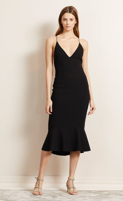 BE MINE FLUTE DRESS - BLACK