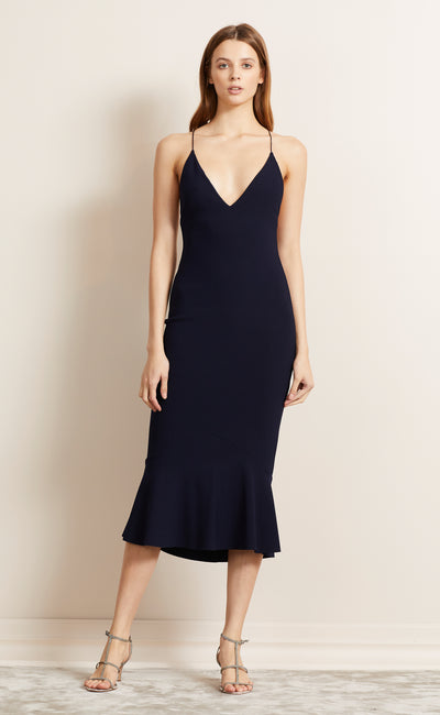 BE MINE FLUTE DRESS - NAVY