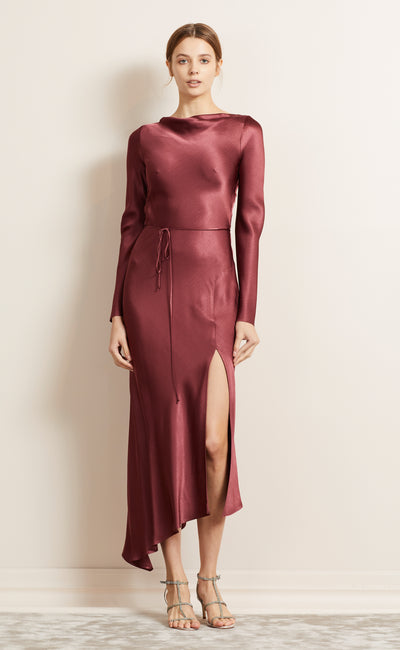MOON DANCE LONG SLEEVE DRESS - WINE