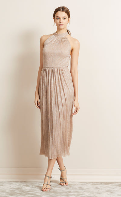 LADY SPARKLE HALTER DRESS - ROSE GOLD