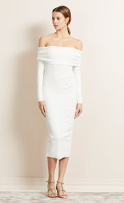 BE MINE LONG SLEEVE OFF SHOULDER DRESS - IVORY