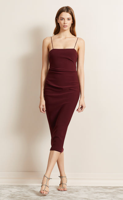 BE MINE MIDI DRESS - BURGANDY