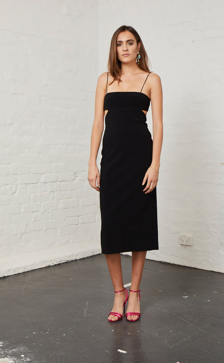 ELLE CUT OUT MIDI DRESS - BLACK