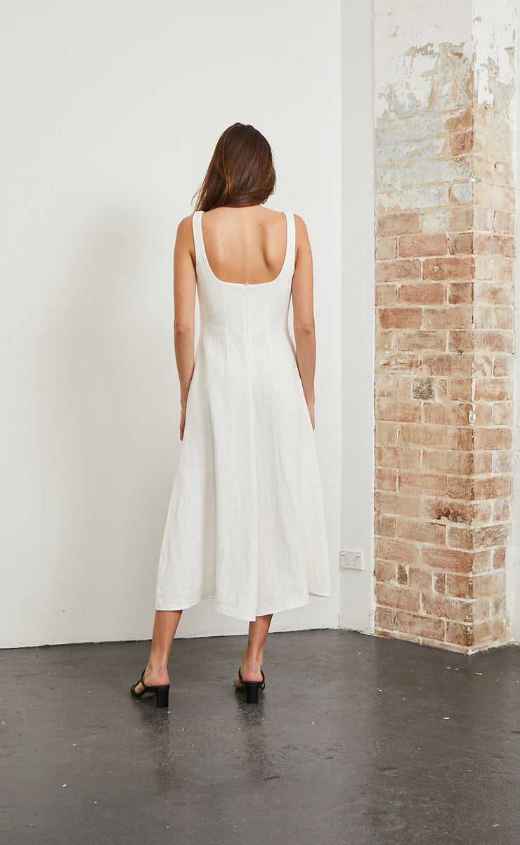 NATURAL WOMAN MIDI DRESS - CHALK