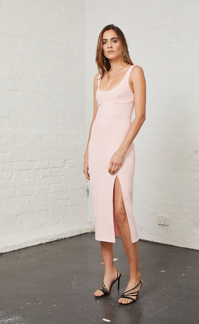 ELLE MIDI DRESS - LIGHT BLUSH