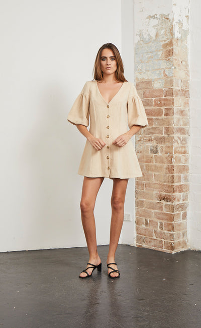 NATURAL WOMAN V DRESS - NATURAL
