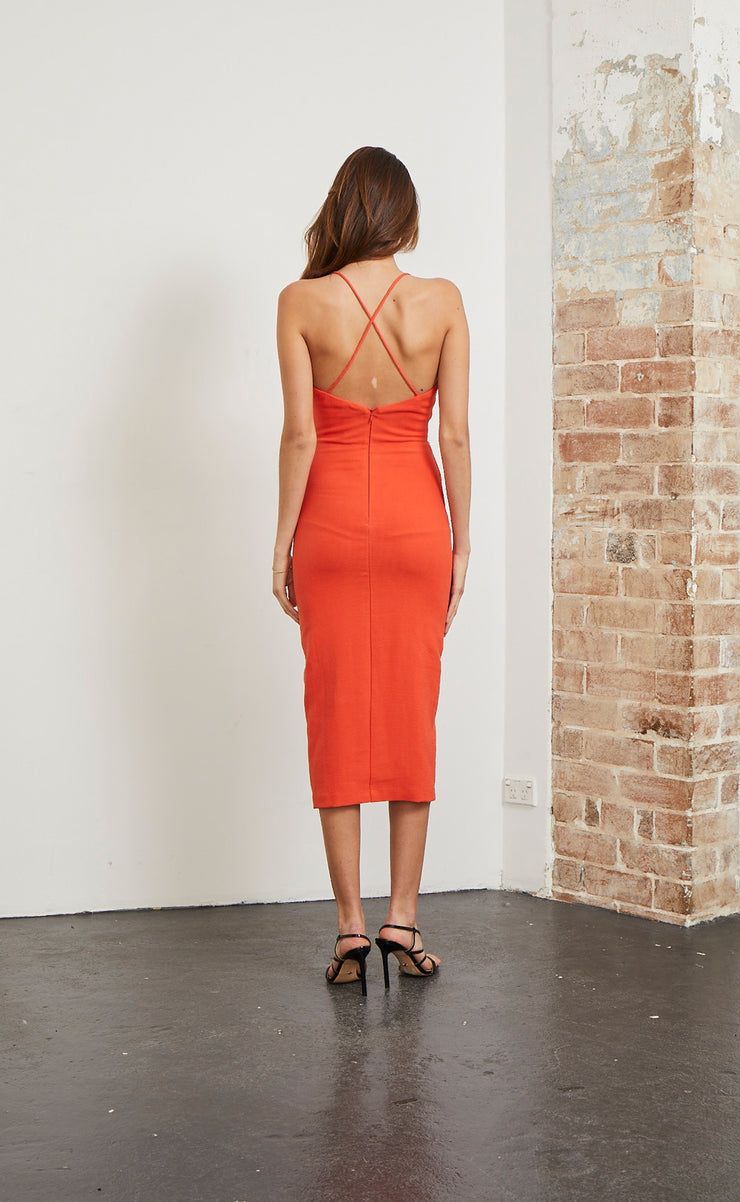 SPICY LADY MIDI DRESS - FLAME