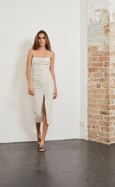 SPICY LADY MIDI DRESS - CHAMPAGNE