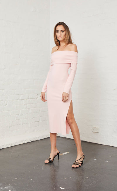 ELLE OFF SHOULDER DRESS - LIGHT BLUSH