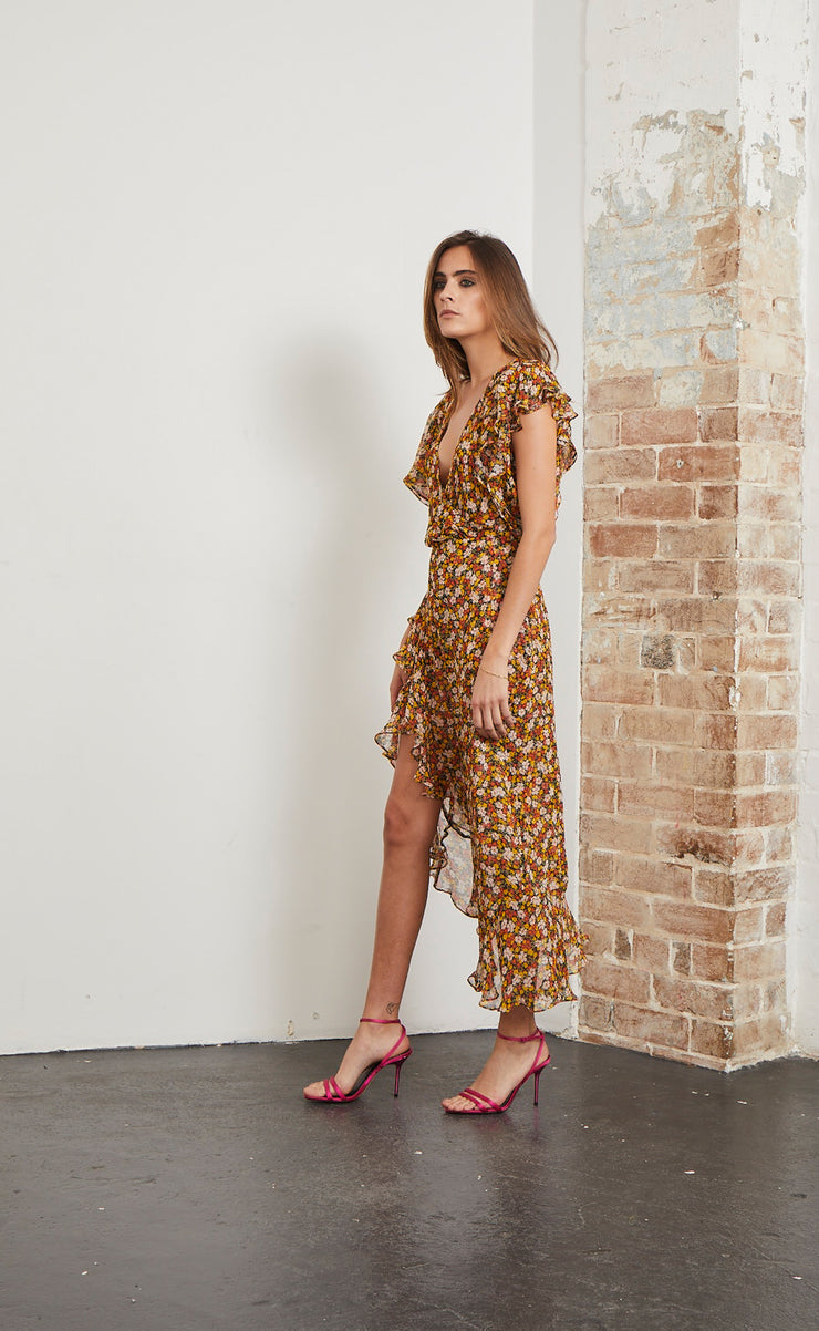 STEVIE WRAP DRESS - FLORAL PRINT