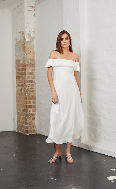 HONEY HONEY PLEAT DRESS - IVORY