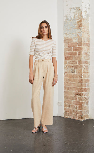 DREW TOP - NATURAL STRIPE