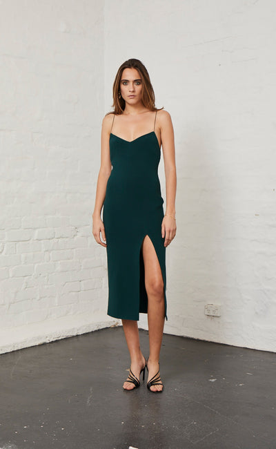 MARGAUX PANEL DRESS - FOREST
