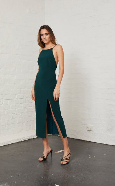 MARGAUX LOW BACK DRESS - FOREST
