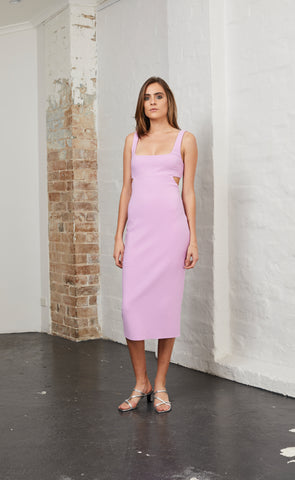ALESSANDRA MIDI DRESS - DARK LILAC