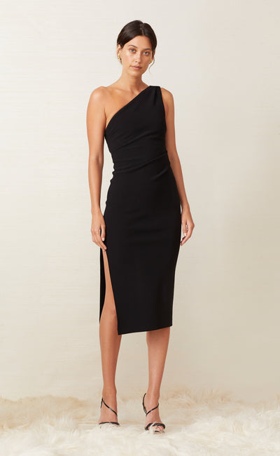 GEMMA ASYM MIDI DRESS - BLACK