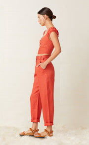 LEXI PANT WITH BELT - BRICK