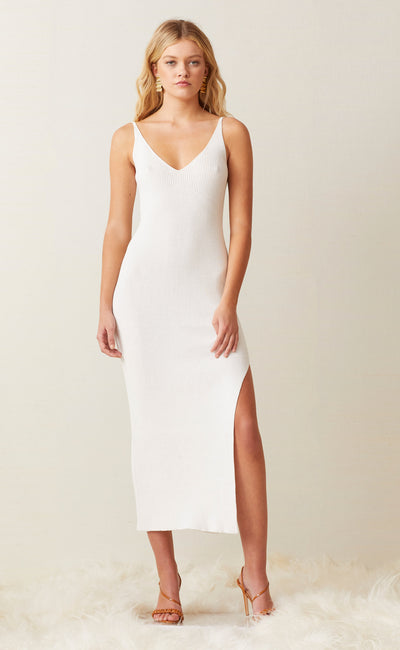 SANDY MIDI KNIT DRESS - IVORY