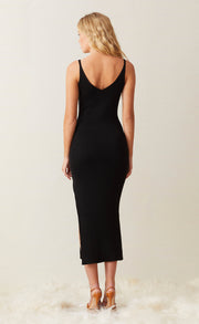 SANDY MIDI KNIT DRESS - BLACK