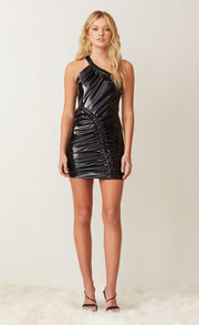 BREAKING MOTION MINI DRESS - BLACK