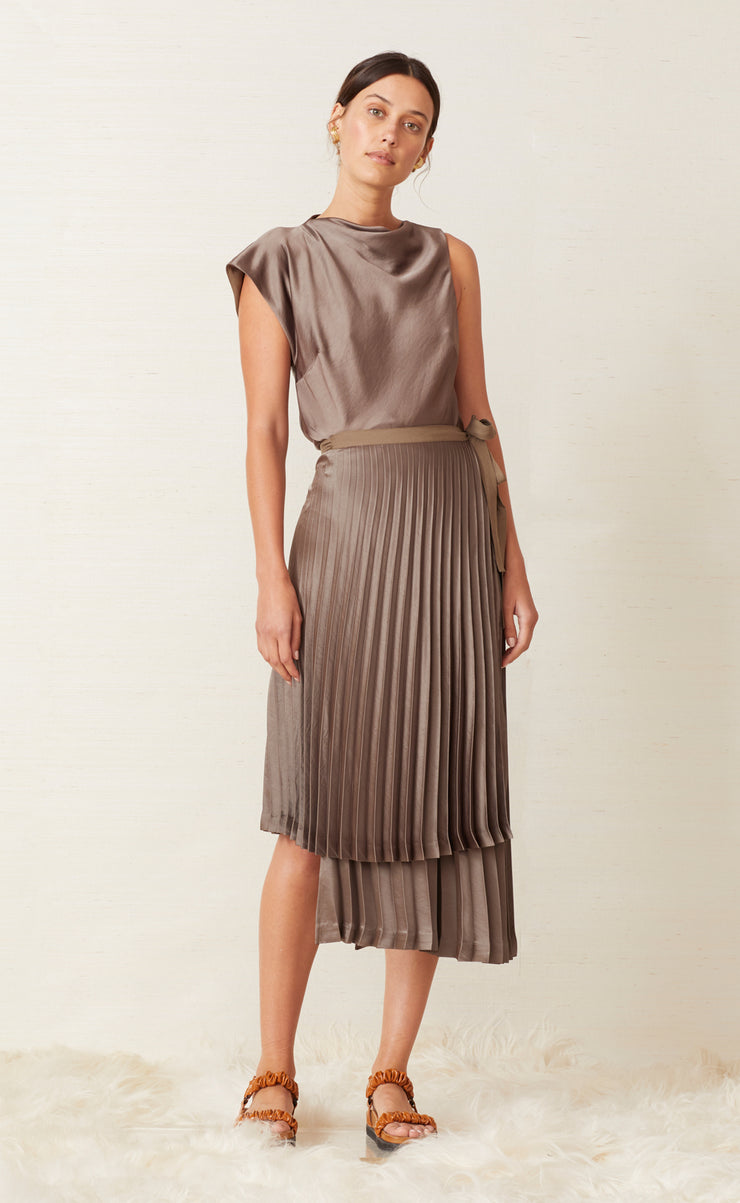 PIPER PLEATED MIDI SKIRT - OLIVE