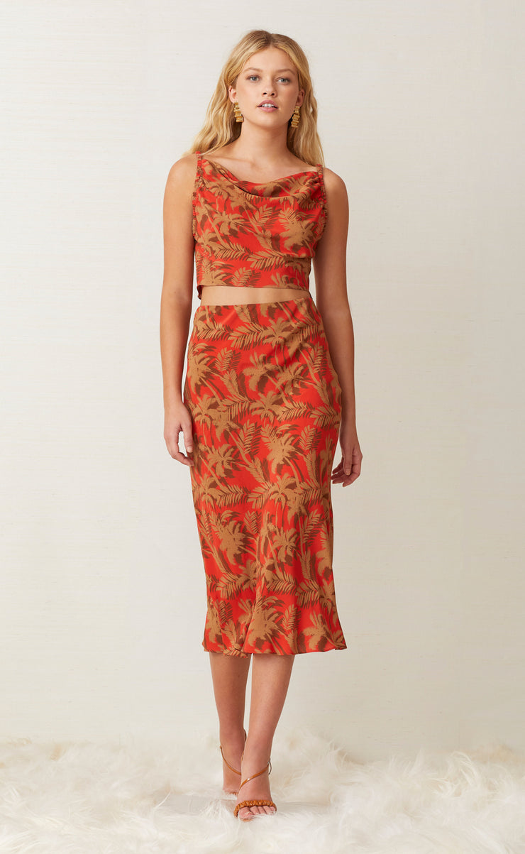 SHADY PALM MIDI SKIRT - RED PALM