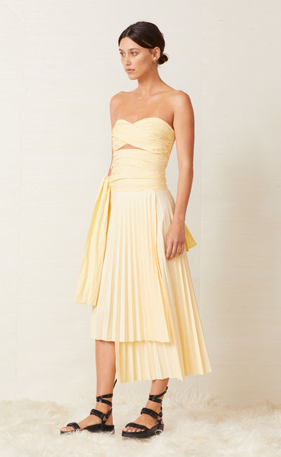 FIA PLEATED MIDI SKIRT - BUTTER