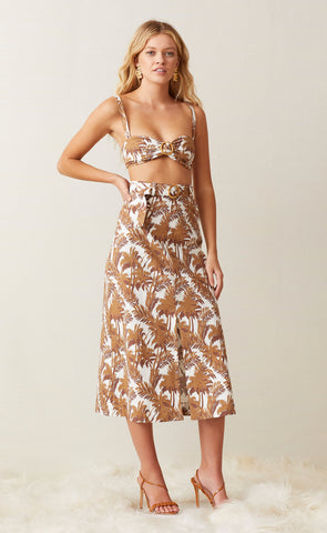 PARTY WAVE MIDI SKIRT - PALM