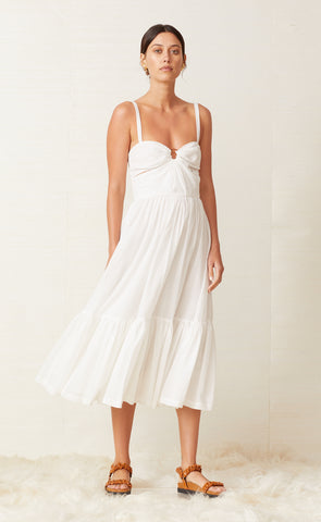PUKA SHELL MIDI DRESS - IVORY