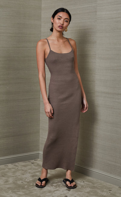RIVIERA SPLIT MIDI DRESS - SILT