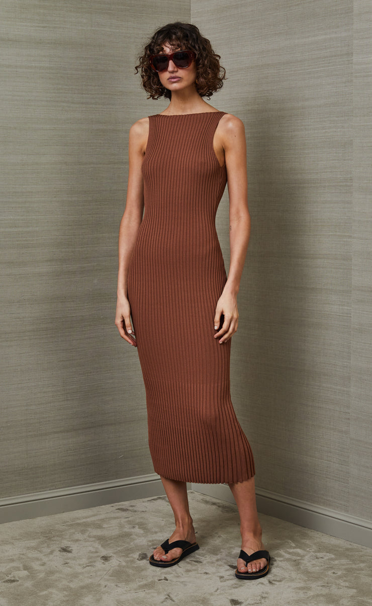 DEJA VU MIDI DRESS - CHOCOLATE