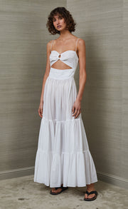 MIAMI PALM WHITE MIDI DRESS - WHITE
