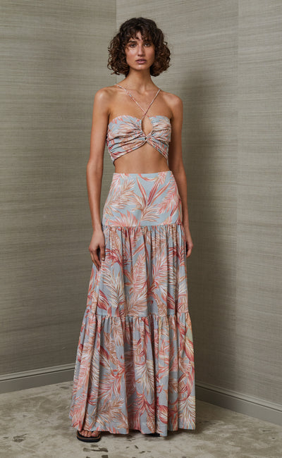 MIAMI PALM MIDI SKIRT - PRINT