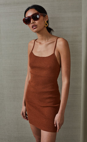 BOWIE MINI DRESS - RUST