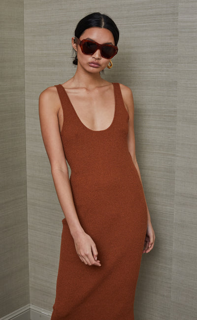 BOWIE MIDI DRESS - RUST