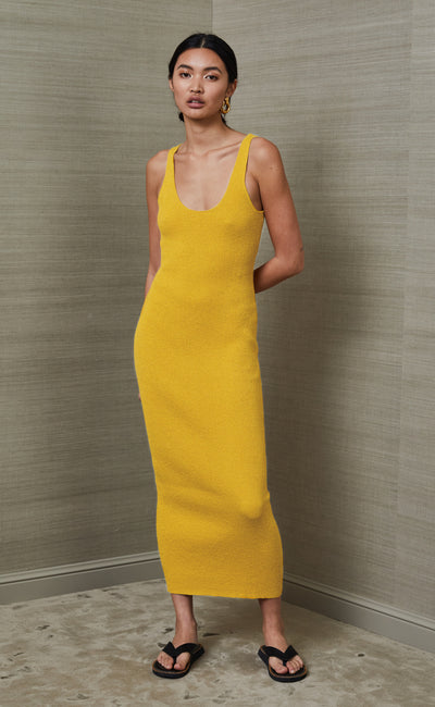 BOWIE MIDI DRESS - MUSTARD