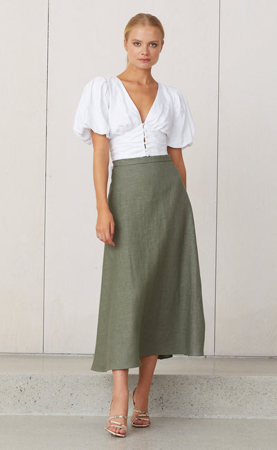 NATURAL MIDI SKIRT - KHAKI