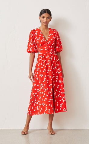 WHITE DAISY MIDI DRESS - RED FLORAL