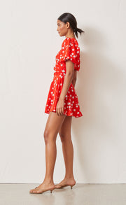 WHITE DAISY WRAP MINI DRESS - RED FLORAL