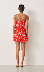 WHITE DAISY MINI DRESS - RED FLORAL