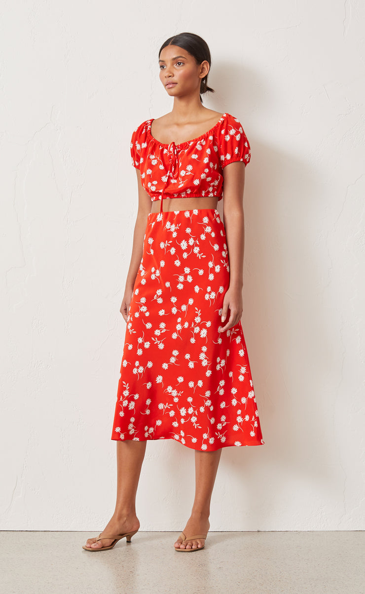 WHITE DAISY MIDI SKIRT - RED FLORAL