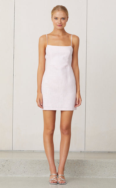 NATURAL TIE BACK MINI DRESS - PINK