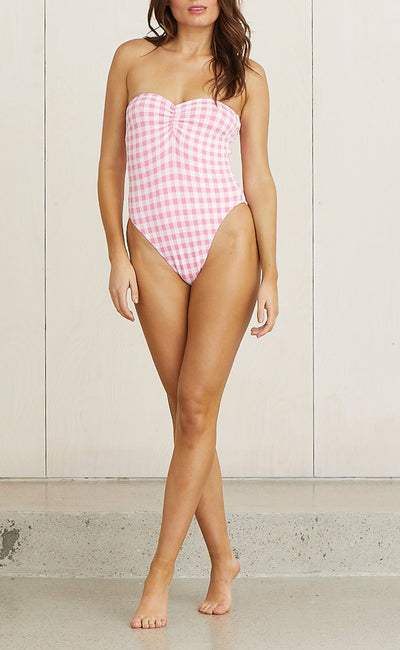 MATERIAL GIRL ONE PIECE - PINK CHECK