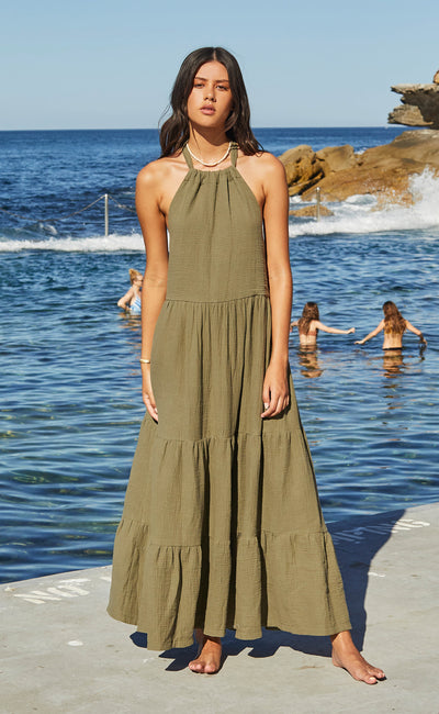 HAKU HALTER DRESS - KHAKI