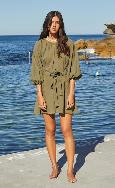 HAKU MINI DRESS - KHAKI
