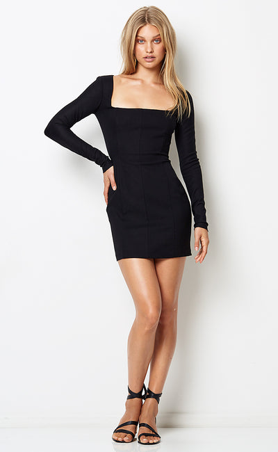 CHICO L/S MINI DRESS - BLACK