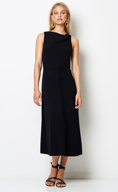 AMALIA COWL MIDI DRESS - BLACK