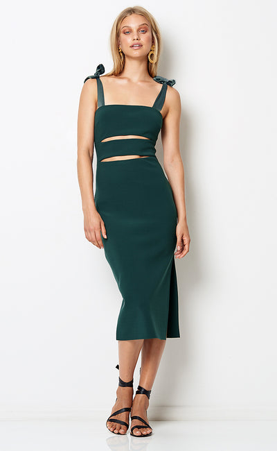 TASHA CUT OUT MIDI DRESS - EMERALD