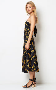 CONGA BEAT SLIP MIDI DRESS - CHEETAH