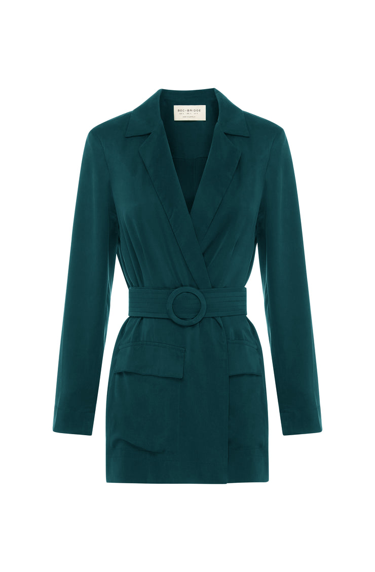 LUCIA BELTED JACKET - EMERALD